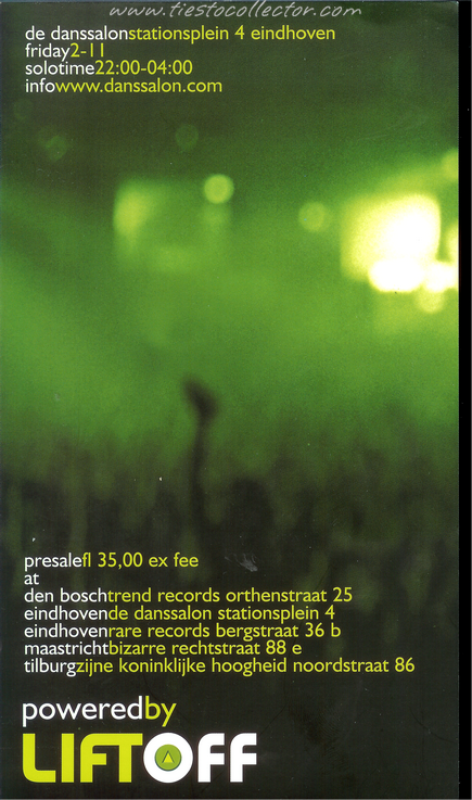2 November 2001 – Tiesto Solo – De Danssalon, Eindhoven