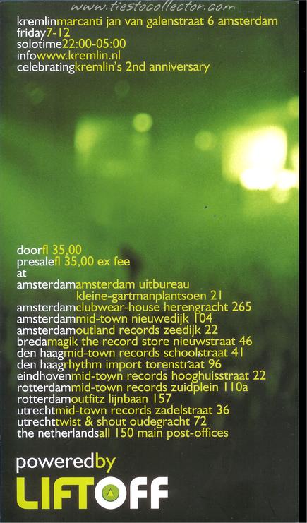 7 December 2001 – Tiesto Solo – Kremlin, Amsterdam