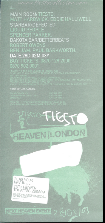 28 March 2003 – Gatecrasher – Heaven, London