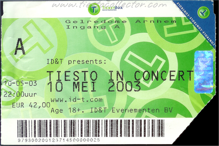 10 May 2003 – Tiesto In Concert – Ticket