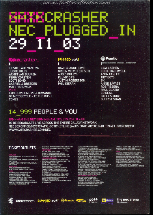 29 November 2003 – Gatecrasher – The NEC, Birmingham