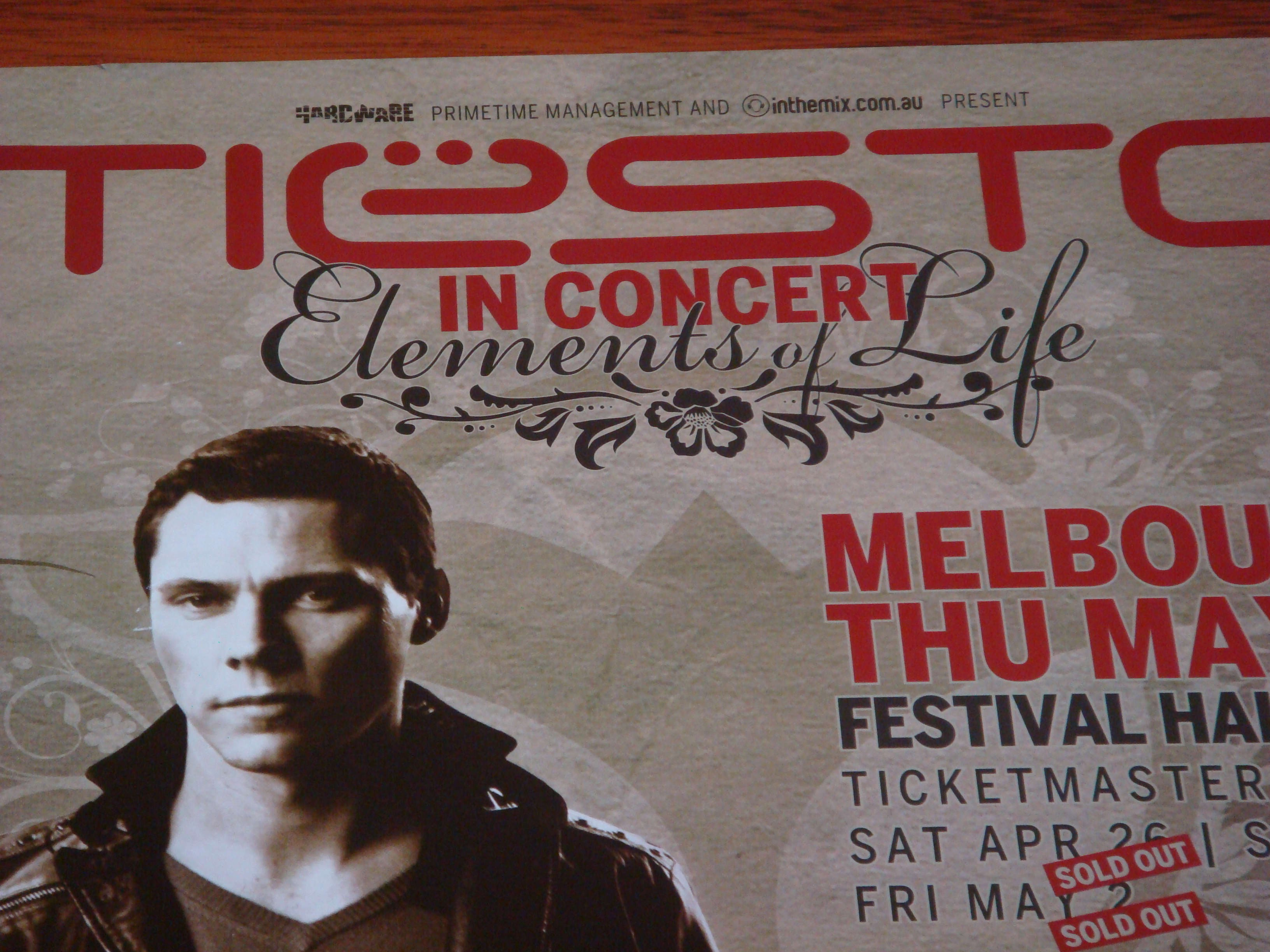 Tiesto in Concert Elements of Life Melbourne 1 May 2008 Poster