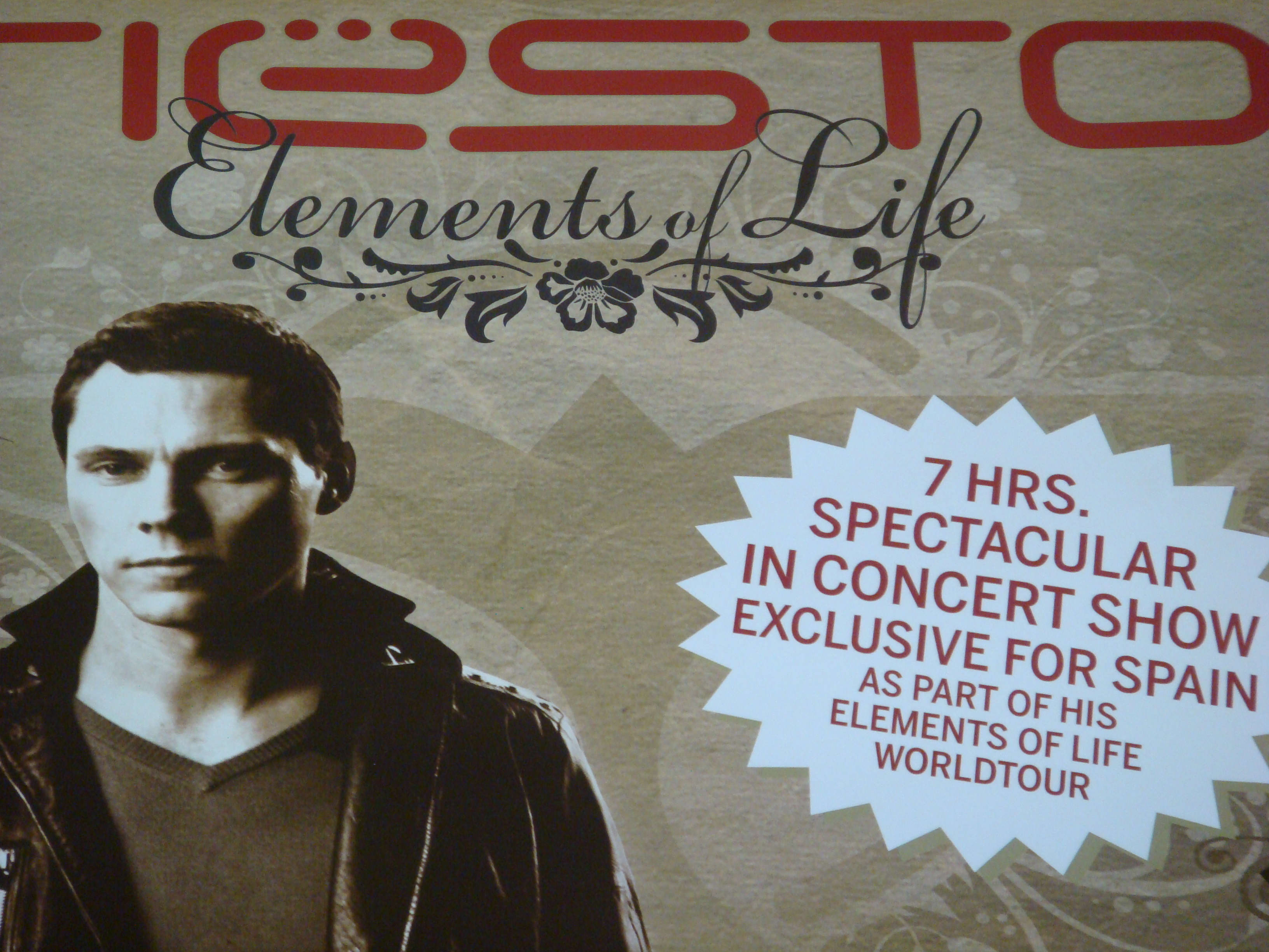 Dj Tiesto Elements of Life World Tour Poster Ibiza Privilege 18 August 2007