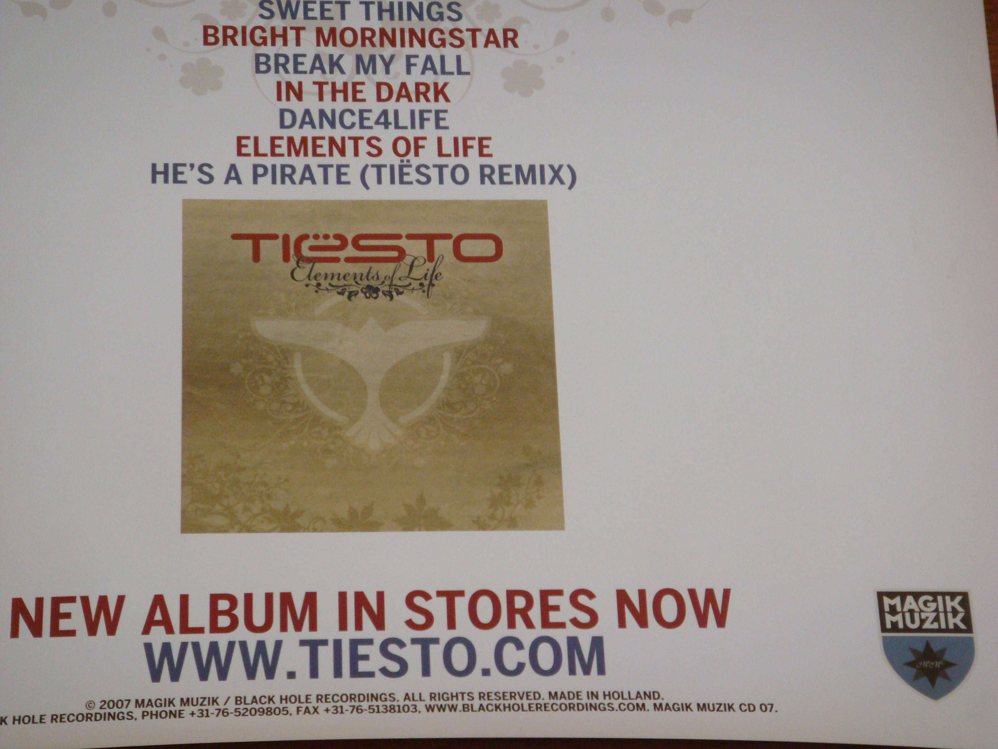 Dj Tiesto Elements of Life Release Poster 2