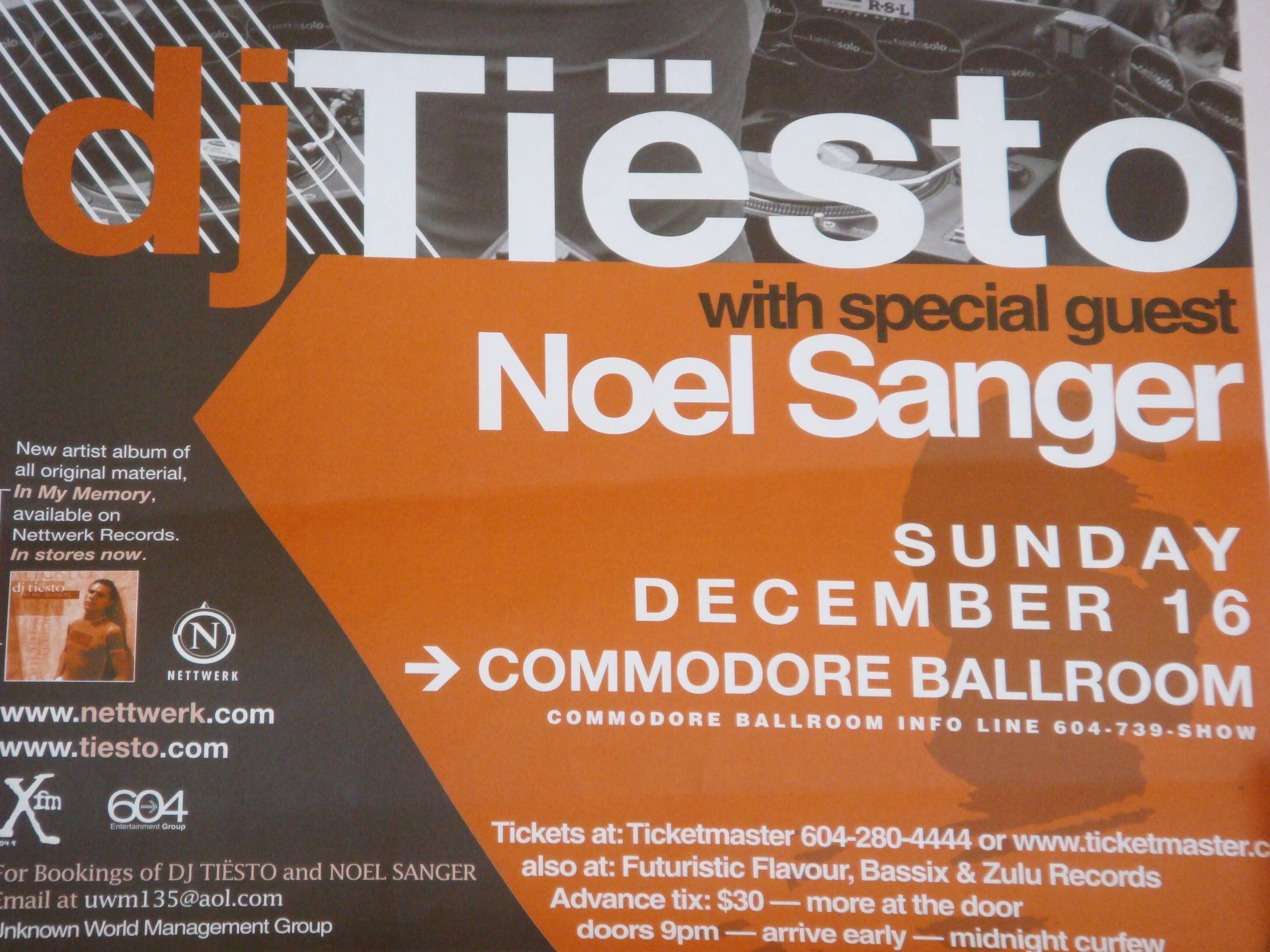 Dj Tiesto live at Commodore Ballroom 16 December 2001 Poster