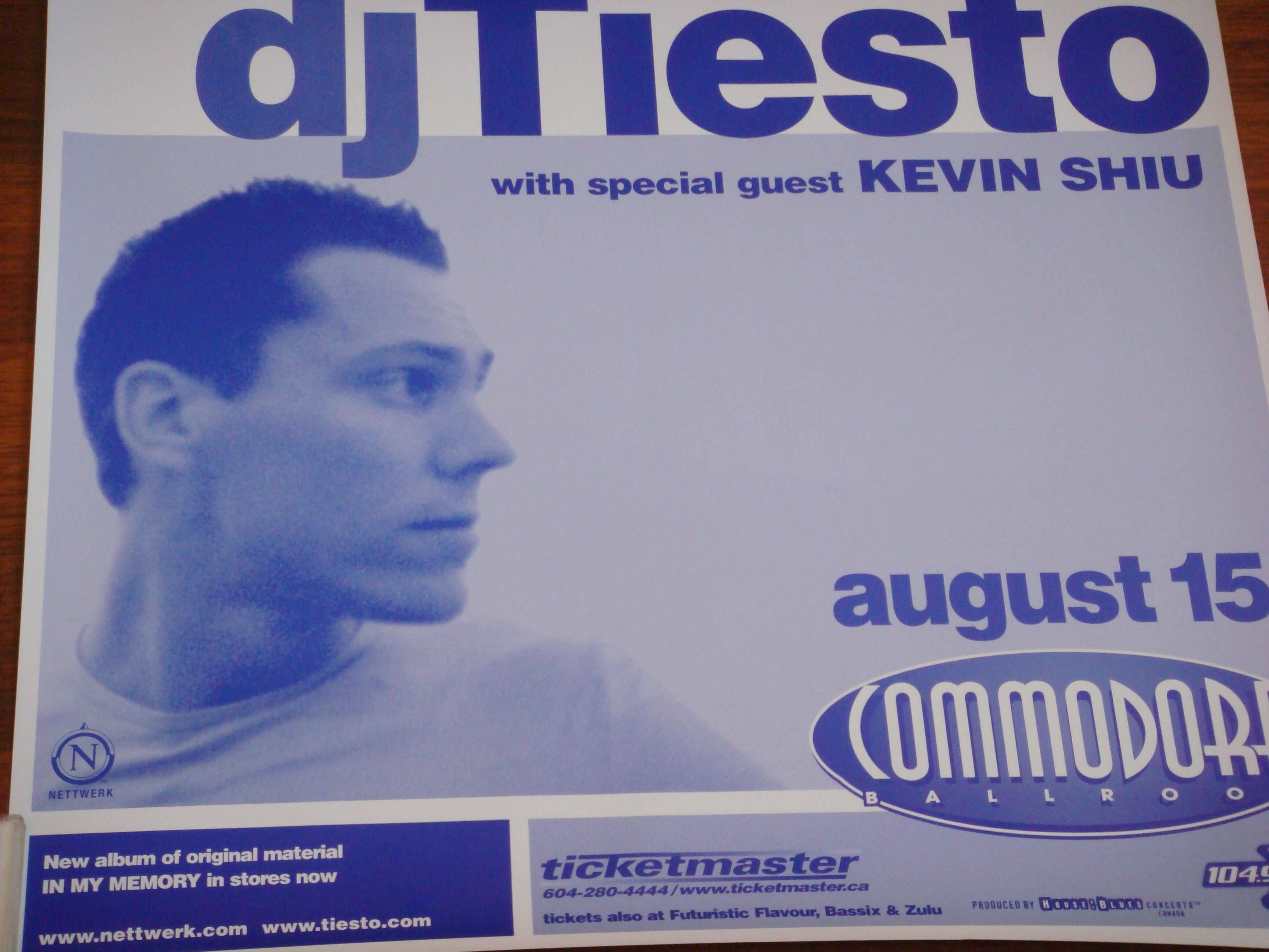 Dj Tiesto live at Commodore Ballroom 15 August 2002 Poster