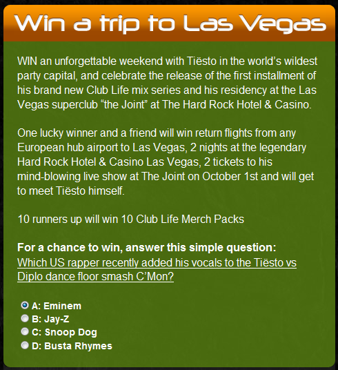 Tiesto Club Life Competition – Win a Trip to Vegas!